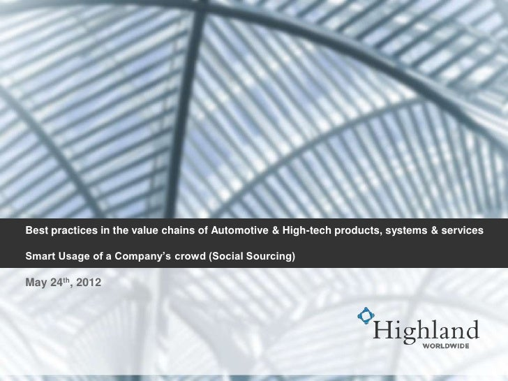 Best practices in the value chains of Automotive & High-tech products, systems & servicesSmart Usage of a Company's crowd ...