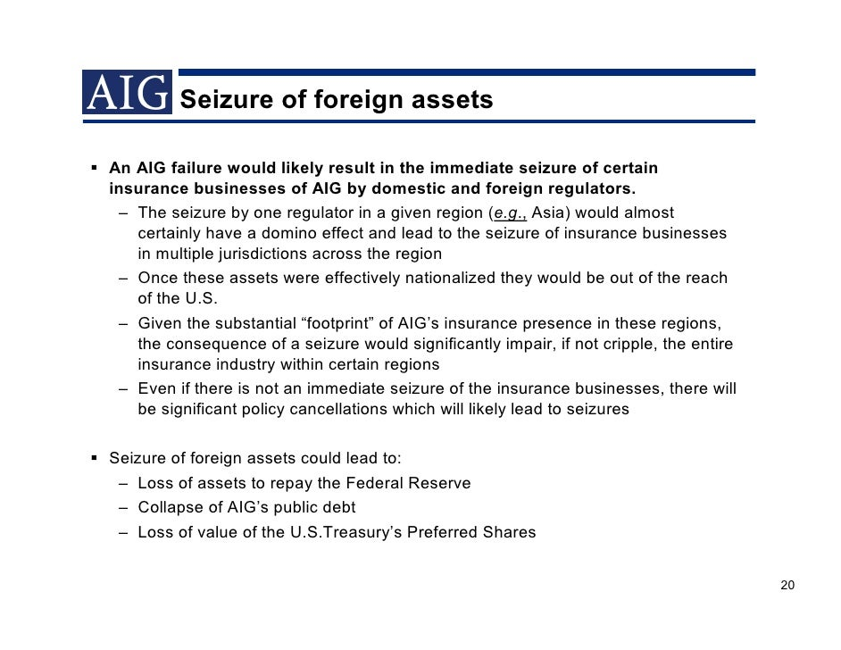 aig failures essay Perhaps the most commonly used example is that of aig  these regulatory failures were nothing compared to the fed's advocacy and embrace of the basel capital .