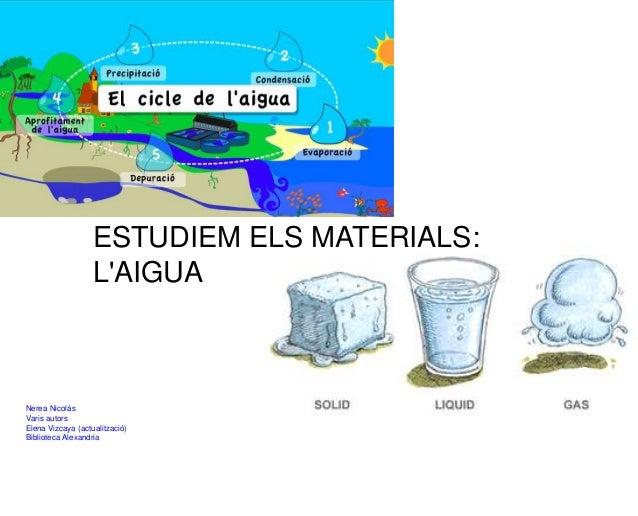ESTUDIEM ELS MATERIALS: L'AIGUA Nerea Nicolás Varis autors Elena Vizcaya (actualització) Biblioteca Alexandria