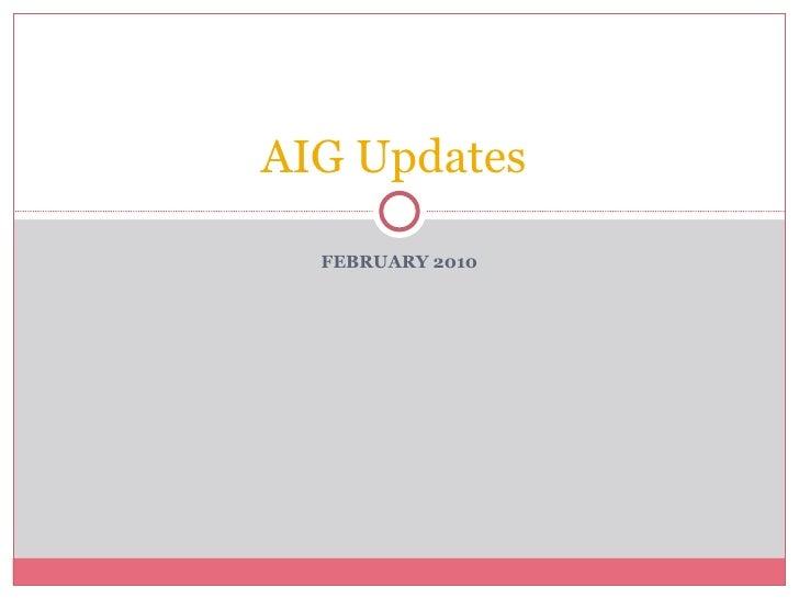 FEBRUARY 2010 AIG Updates