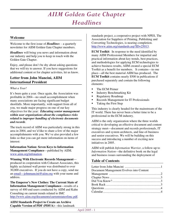 April 2005 Headlines Newsletter