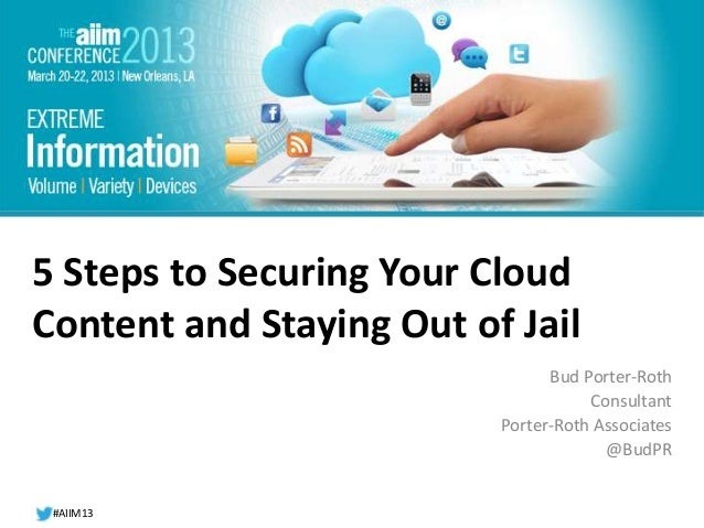 #AIIM13#AIIM12#AIIM135 Steps to Securing Your CloudContent and Staying Out of JailBud Porter-RothConsultantPorter-Roth Ass...