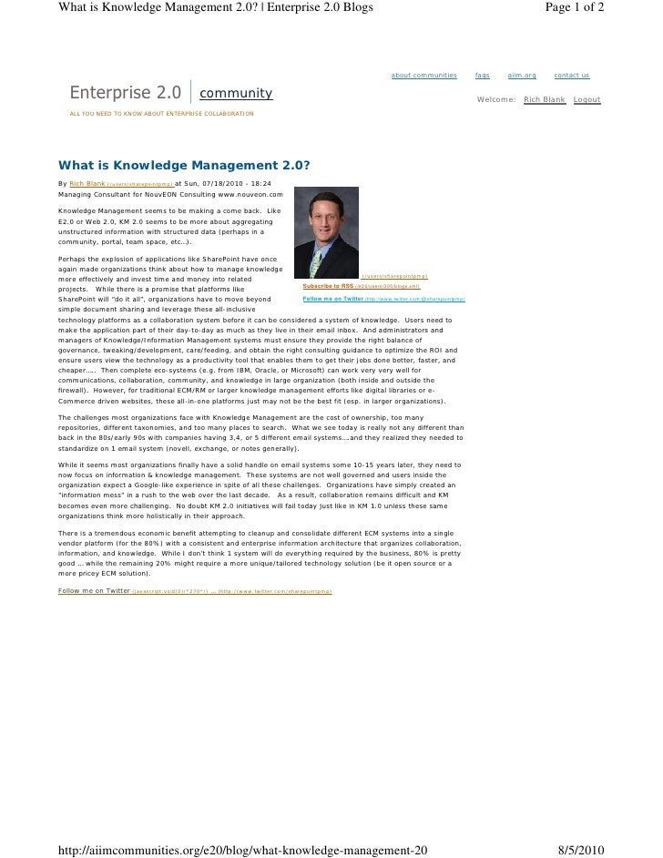 What is Knowledge Management 2.0?