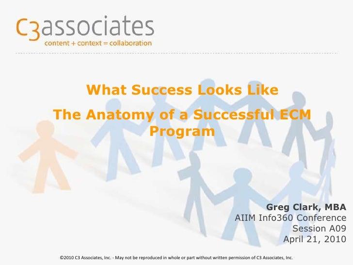 17-Oct-08<br />© 2008 C3 Associates Inc.<br />What Success Looks Like <br />The Anatomy of a Successful ECM Program<br />G...