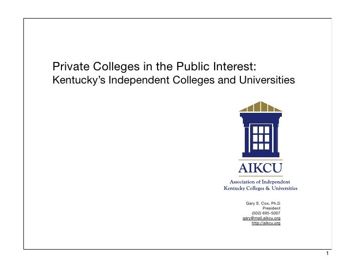 Private Colleges in the Public Interest: Kentucky's Independent Colleges and Universities                                 ...