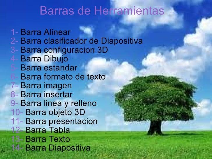1-  Barra Alinear 2-  Barra clasificador de Diapositiva 3-  Barra configuracion 3D 4-  Barra Dibujo 5-  Barra estandar 6- ...