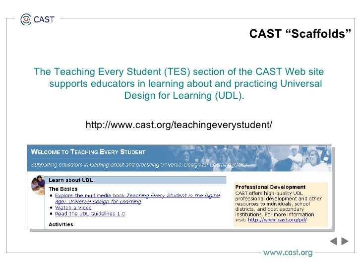 """CAST """"Scaffolds"""" <ul><li>The Teaching Every Student (TES) section of the CAST Web site supports educators in learning abou..."""