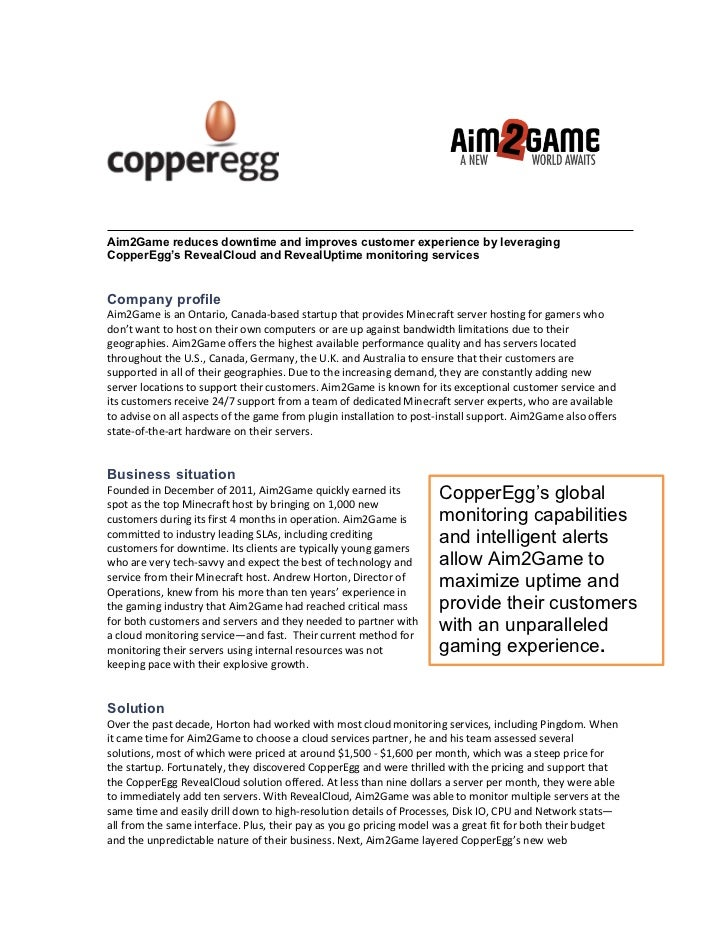 Aim2Game reduces downtime and improves customer experience by leveragingCopperEgg's RevealCloud and RevealUptime monitorin...
