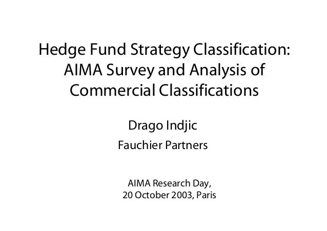 Hedge Fund Strategy Classification: AIMA Survey and Analysis of Commercial Classifications Drago Indjic Fauchier Partners ...