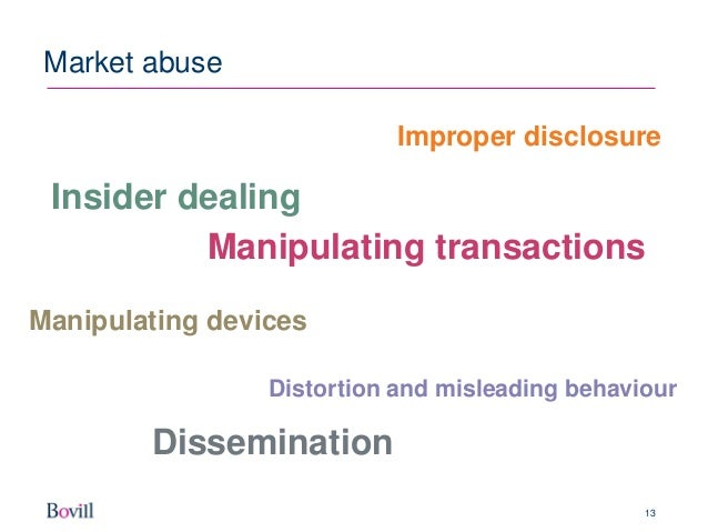 market abuse A civil offence under the market abuse regulation (mar) for the purposes of mar, market abuse encompasses unlawful behaviour in the financial markets and consists of: for the purposes of mar, market abuse encompasses unlawful behaviour in the financial markets and consists of.