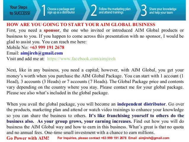 Price List of Aim Global Products Aim Global Products or