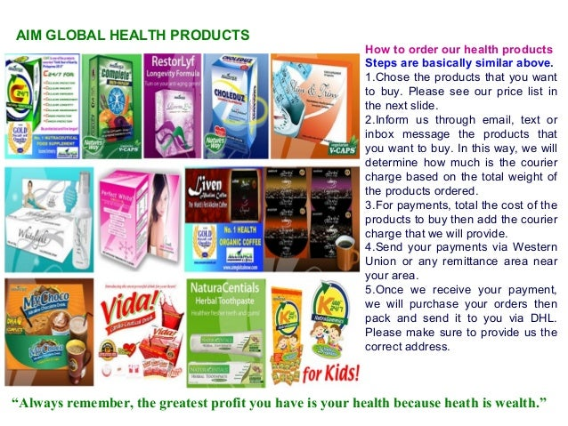 Price List of Aim Global Products Aim Global Health Products How