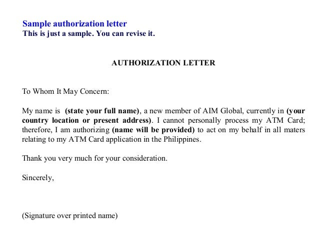 Letter Format 187 Authorization Letter Format Sample Free