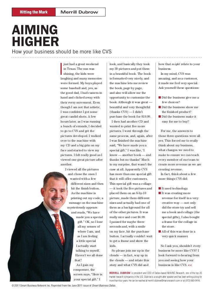 Hitting the Mark                     Merrill DubrowAIMINGHIGHERHow your business should be more like CVS                  ...