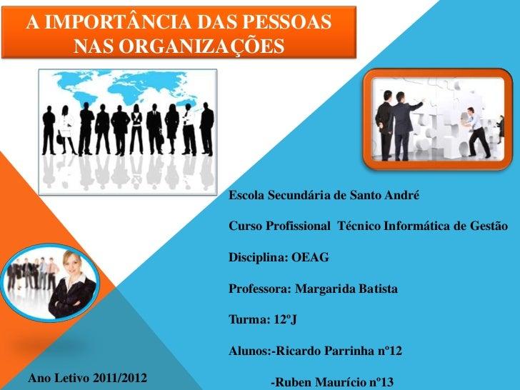 A IMPORTÂNCIA DAS PESSOAS    NAS ORGANIZAÇÕES                       Escola Secundária de Santo André                      ...