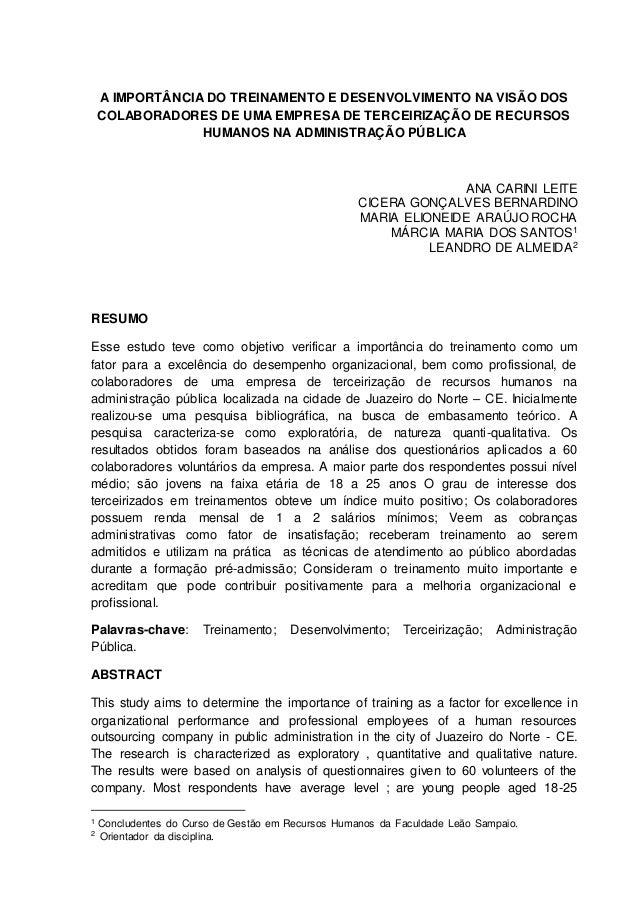 1  A IMPORTÂNCIA DO TREINAMENTO E DESENVOLVIMENTO NA VISÃO DOS  COLABORADORES DE UMA EMPRESA DE TERCEIRIZAÇÃO DE RECURSOS ...
