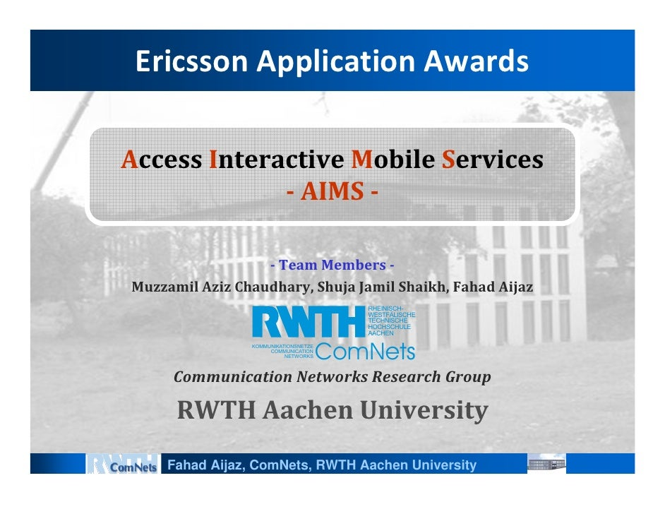EricssonApplicationAwards  AccessInteractiveMobileServices               AIMS                     TeamMembers ...