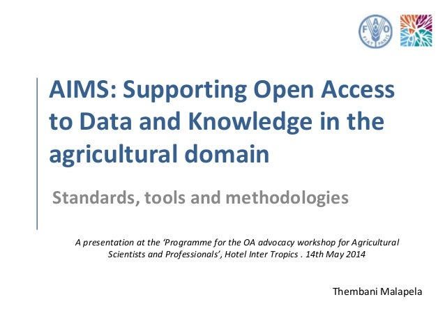 AIMS: Supporting Open Access to Data and Knowledge in the Agricultural Domain