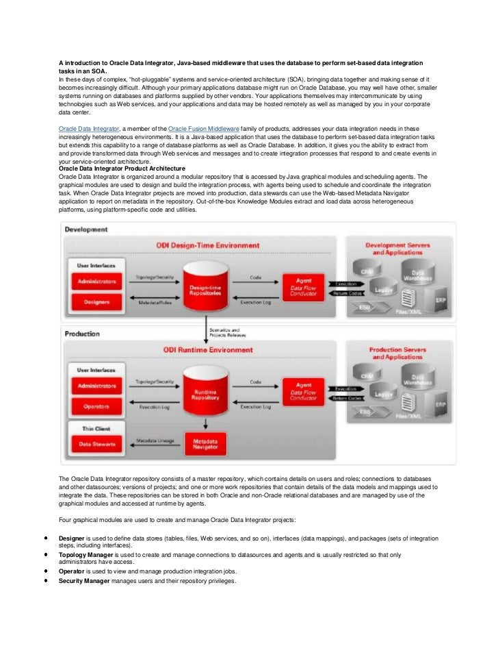 A introduction to oracle data integrator