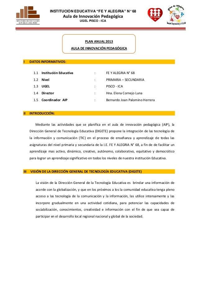 """INSTITUCIÓN EDUCATIVA """"FE Y ALEGRIA"""" N° 68                             Aula de Innovación Pedagógica                      ..."""