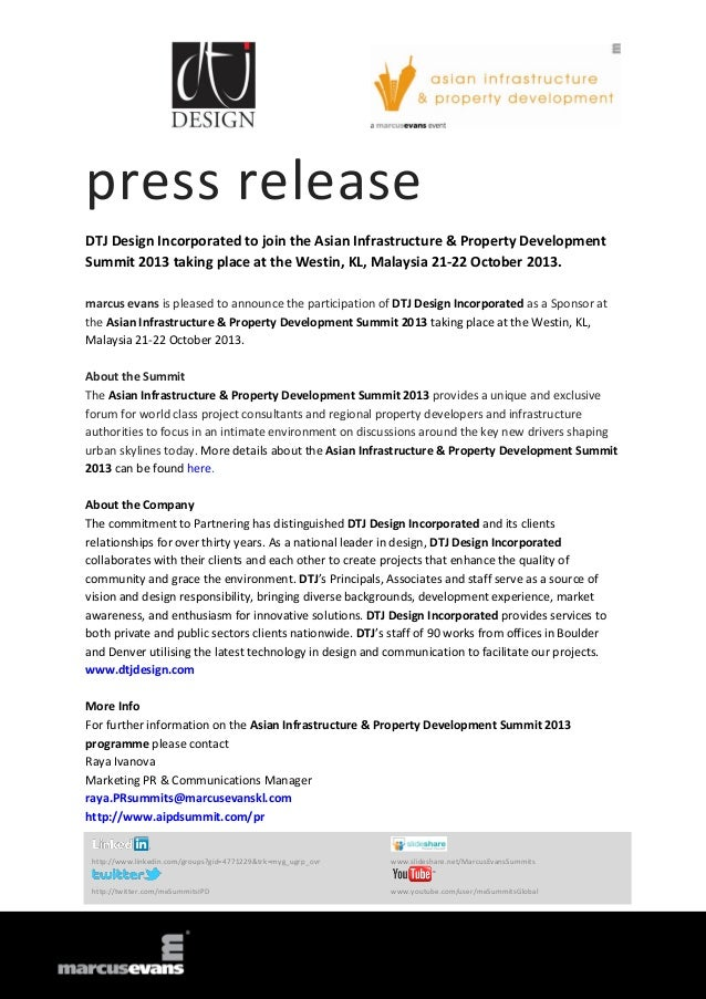 press release DTJ Design Incorporated to join the Asian Infrastructure & Property Development Summit 2013 taking place at ...