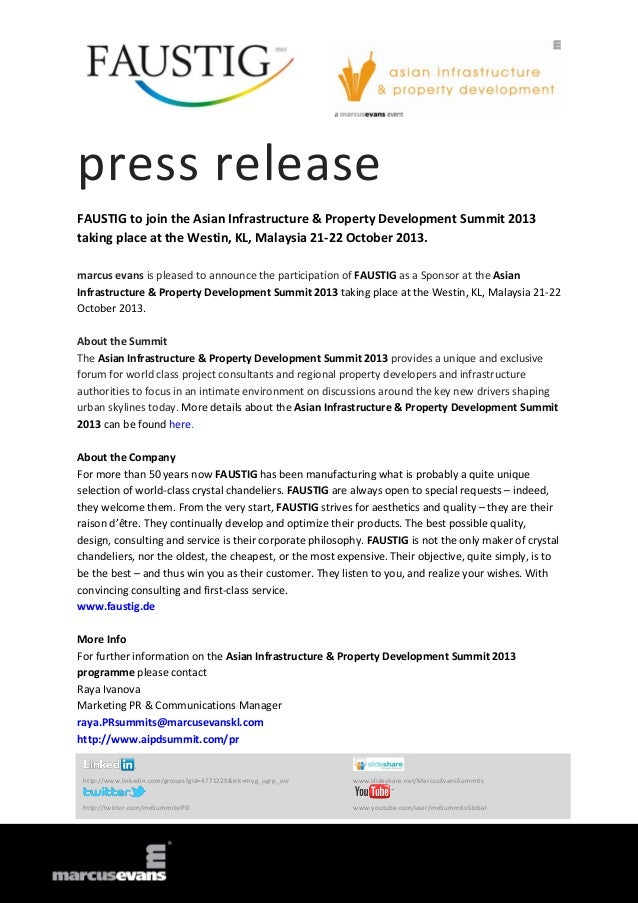 press release FAUSTIG to join the Asian Infrastructure & Property Development Summit 2013 taking place at the Westin, KL, ...