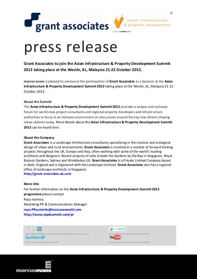 press release Grant Associates to join the Asian Infrastructure & Property Development Summit 2013 taking place at the Wes...