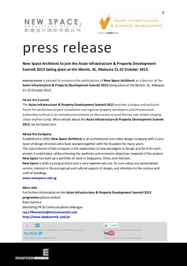 press release New Space Architects to join the Asian Infrastructure & Property Development Summit 2013 taking place at the...