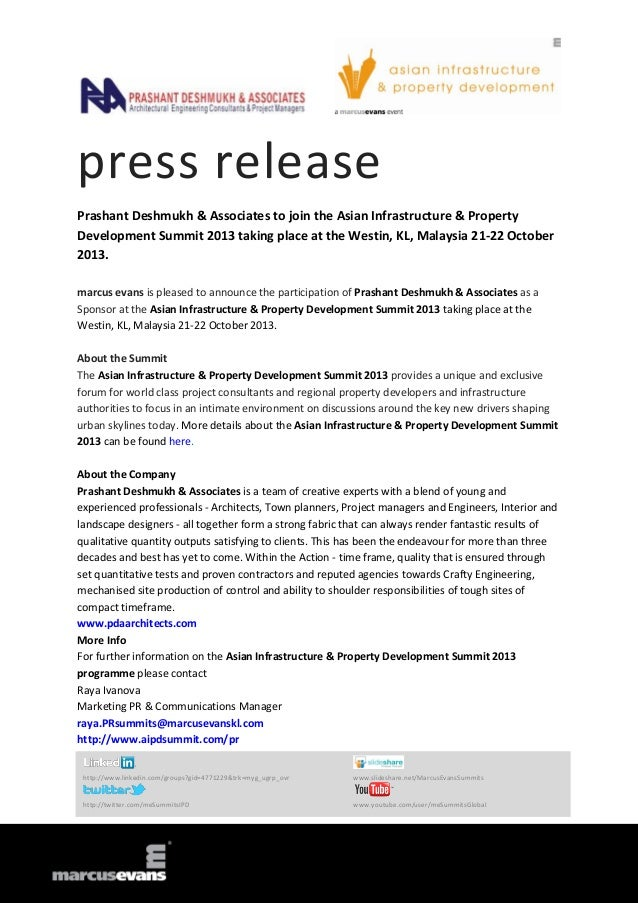 Prashant Deshmukh & Associates to join the Asian Infrastructure & Property Development Summit 2013