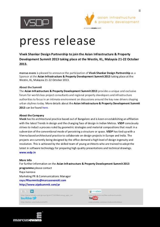 press release Vivek Shankar Design Partnership to join the Asian Infrastructure & Property Development Summit 2013 taking ...