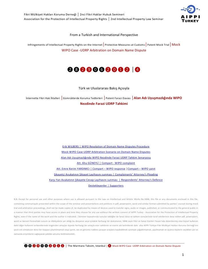 Fikri Mülkiyet Hakları Koruma Derneği │ 2nci Fikri Haklar Hukuk Semineri          Association for the Protection of Intell...