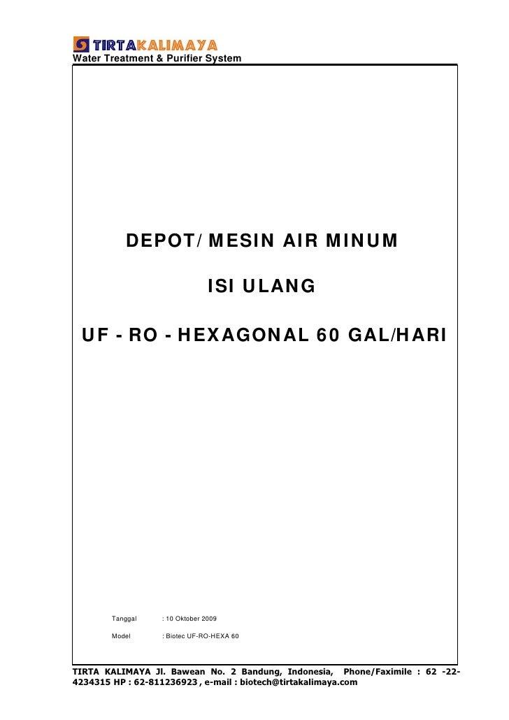 Air Minum Isi Ulang  UF-RO-HEXA 60  Gal/  hari