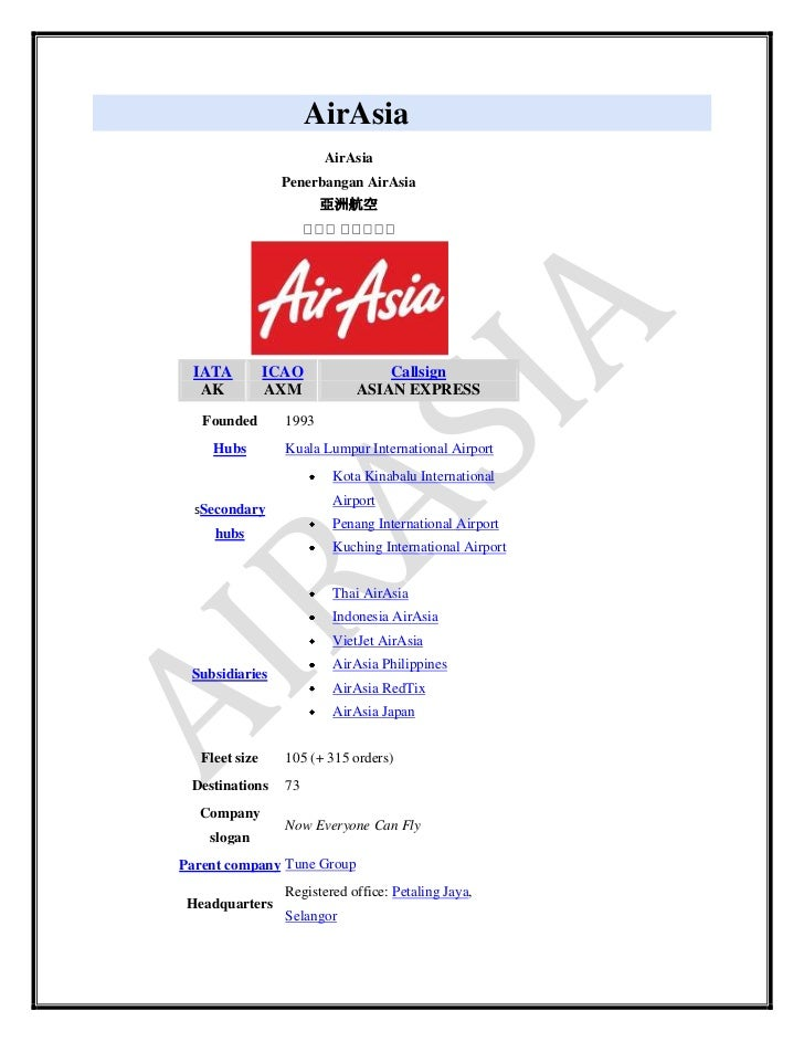 the airasia company strategic management Bhs0027: strategic management individual assignment (hkma july 17) learning outcomes evaluate case studies in strategy direction, strategy implementation and strategic management.