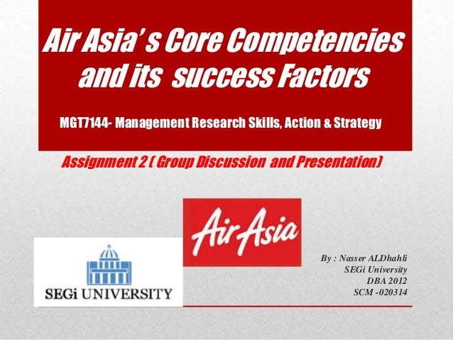 Air Asia' s Core Competencies   and its success Factors MGT7144- Management Research Skills, Action & Strategy Assignment ...