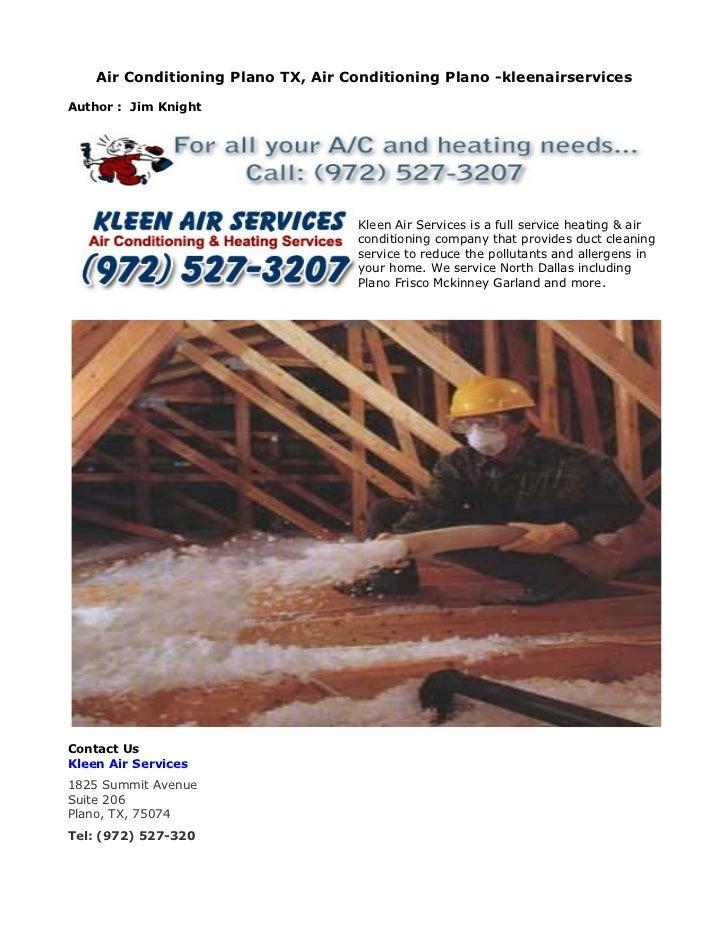 Air Conditioning Plano TX, Air Conditioning Plano -kleenairservicesAuthor : Jim Knight                                    ...