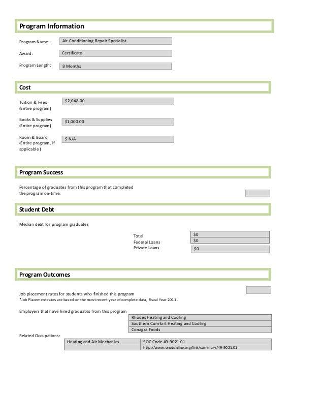 Program InformationProgram Name:           Air Conditioning Repair SpecialistAward:                  CertificateProgram Le...