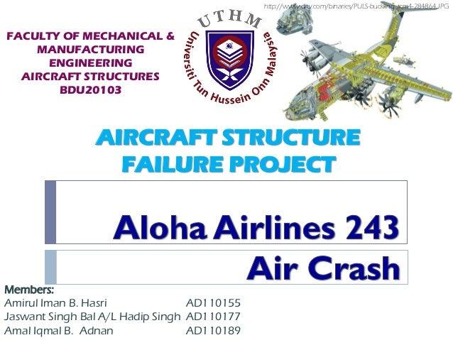 AIRCRAFT STRUCTUREFAILURE PROJECTMembers:Amirul Iman B. Hasri AD110155Jaswant Singh Bal A/L Hadip Singh AD110177Amal Iqmal...