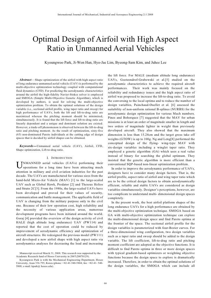 International Journal of Mechanical, Industrial and Aerospace Engineering 2:1 2008                   Optimal Design of Air...