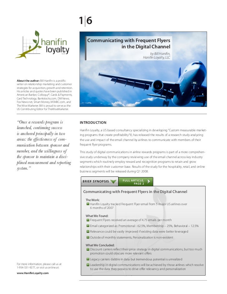 White Paper: How Airlines use email to communicate with frequent flyers12010