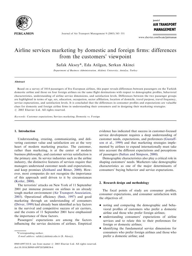 Airline services marketing by domestic and foreign firms differences