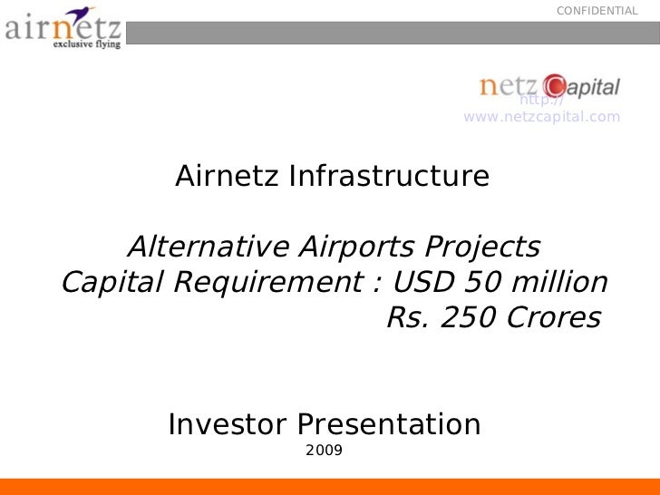 Airnetz Infrastructure Investor Presentation - airport development build operate transfer, private jet , general aviation, flight training