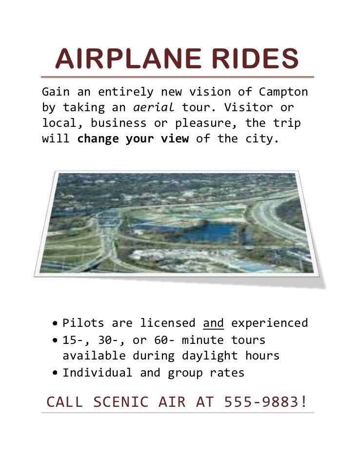 Airplane Rides<br />1143001386840Gain an entirely new vision of Campton by taking an aerial tour. Visitor or local, busine...