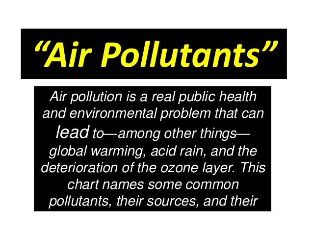 """""""Air Pollutants"""" Air pollution is a real public health and environmental problem that can lead to—among other things— glob..."""