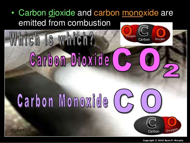 • Carbon dioxide and carbon monoxide are emitted from combustion Copyright © 2010 Ryan P. Murphy Carbon Carbon Oxygen Oxyg...