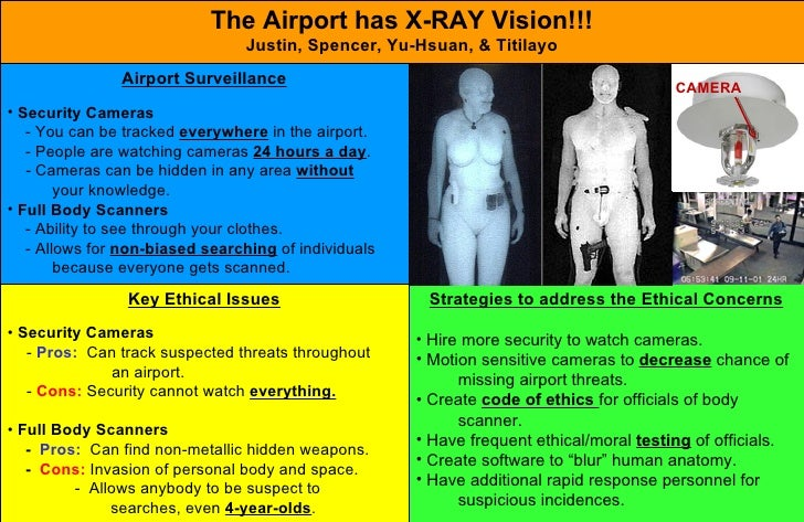 The Airport has X-RAY Vision!!! Justin, Spencer, Yu-Hsuan, & Titilayo <ul><li>Key Ethical Issues </li></ul><ul><li>Securit...
