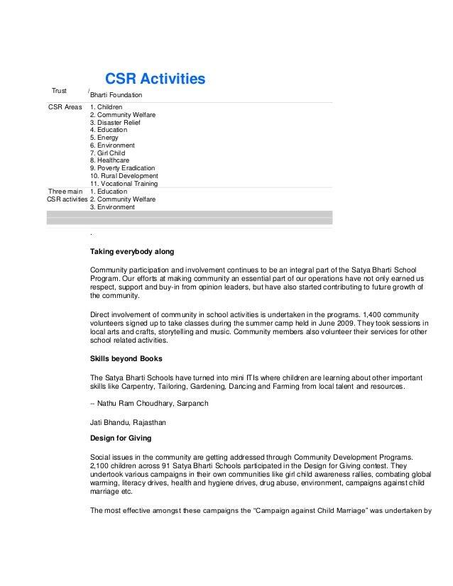 CSR Activities       Trust        /                        Bharti FoundationCSR      CSR Areas      1. Children           ...