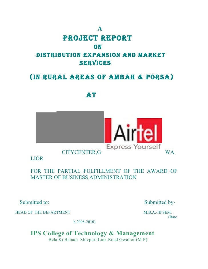 A                    PROJECT REPORT                        ON         DISTRIBUTION EXPANSION AND MARKET                   ...