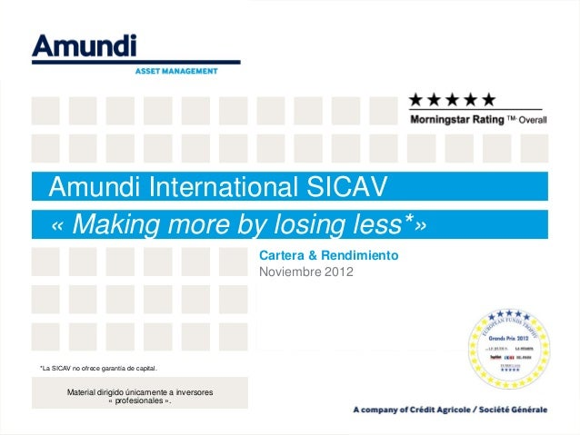 Amundi International SICAV  « Making more by losing less*»                                                     Cartera & R...