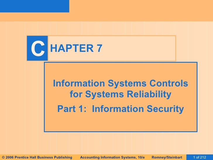 HAPTER 7 Information Systems Controls for Systems Reliability Part 1:  Information Security