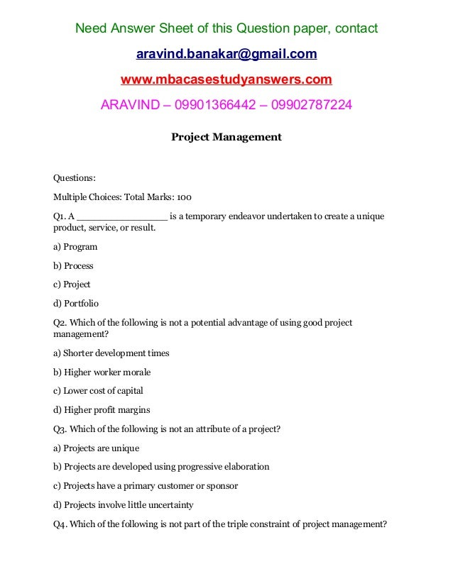 project risk management essay questions Project risk management robert debono plan risk management project scope statement questions thank you for your time.